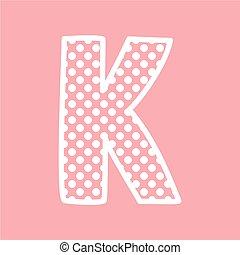 kropkuje, alfabet, k, wektor, litera