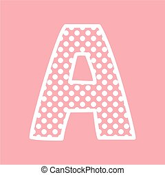 kropkuje, alfabet, wektor, litera