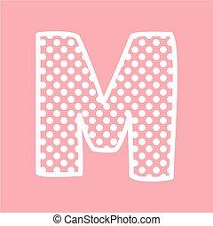 kropkuje, alfabet, wektor, m, litera