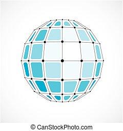 kropkuje, błękitny, wektor, niski, abstrakcyjny, obiekt, kwestia, zachodzące, squares., connected., czarnoskóry, poly, 3d, kula, futurystyczny, oczko