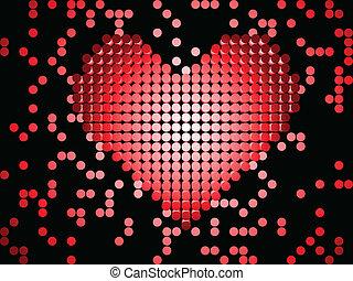 kropkuje, błyszczący, heart., czerwony, 3d
