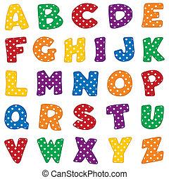 kropkuje, biały, polka, alfabet