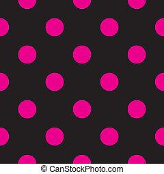 kropkuje, czarne tło, wektor, &, różowy