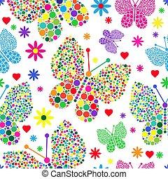 kropkuje, f, próbka, polka, seamless, valentine, wielki, jasny, mały, motyle