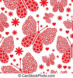 kropkuje, f, próbka, polka, seamless, valentine, wielki, motyle, mały, monochromia, czerwony