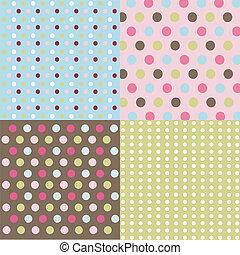 kropkuje, komplet, polka, seamless, wzory