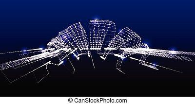 kropkuje, pojęcie, points., abstrakcyjny, kwestia, tło, architektura, vector., 3d, futurystyczny, ogień