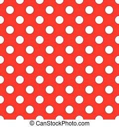 kropkuje, polka, seamless, tło, biały czerwony