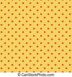 kropkuje, pomarańcza, polka, seamless, żółty