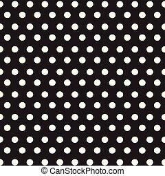 kropkuje, próbka, polka, seamless, czarne tło, biały