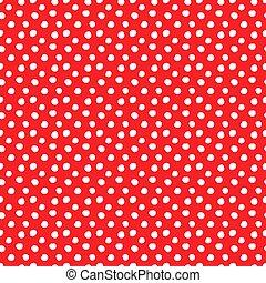 kropkuje, próbka, polka, seamless, czerwony