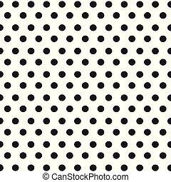 kropkuje, próbka, polka, seamless, wektor, czarnoskóry, retro, tło, biały