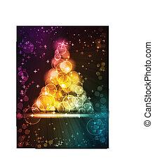 kropkuje, robiony, barwne światło, drzewo, gwiazdy, boże narodzenie