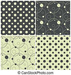 kropkuje, wzory, polka, seamless, ilustracja, koła, wektor