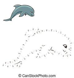 kropkuje, zaciągnąć, delfin, gra, wektor, połączyć