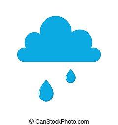 kropla, chmura, icon., deszcz, padając woda