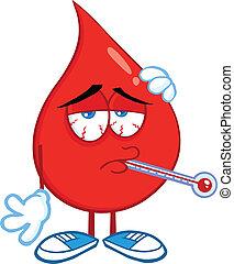 kropla, krew, chory, termometr