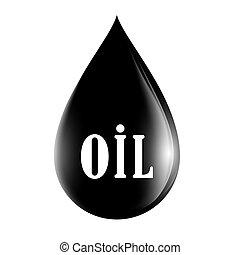 kropla, nafta, odizolowany, tło, biały