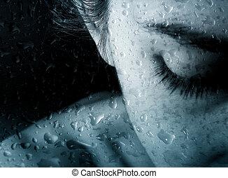 krople, kobieta, deszcz