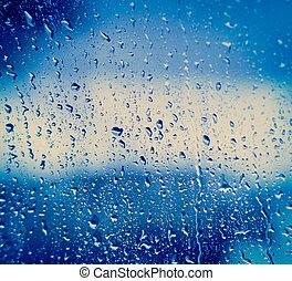 krople, na, szkło, po deszczu