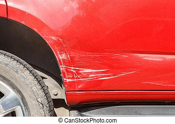 kropp, av, blå bil, få, skadat, av, olycka