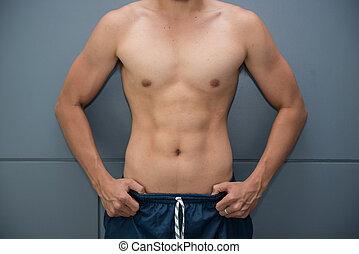 kropp, bra, män, muskulös, hälsa, ha, trevlig
