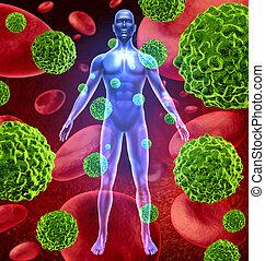 kropp, cancer, celler, mänsklig, växande, fördelning