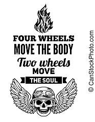 kropp, flyttning, två, själ, fyra, hjul