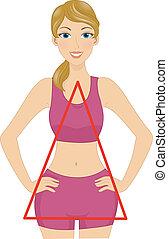 kropp, form, triangel