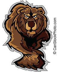 kropp, grizzly björn, w, kringsmygande, maskot