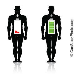 kropp, hög, mänsklig, låg, batteri