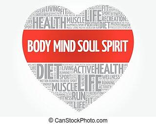 kropp, hjärta, ord, själ, själ, ande, moln