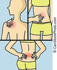 kropp, kvinna, smärta, vektor, del, flera, ha