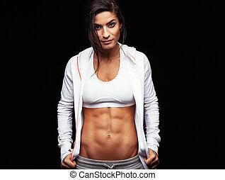 kropp, kvinna, ung, muskulös