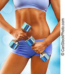 kropp, kvinna, uppe, muskulös, nära, synhåll