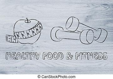 kropp, liv, soul:, lämplig, hälsosam, själ, mat