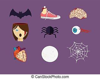 kropp, mänsklig, organs., parts., halloween, blodig, särar, utsmyckningar