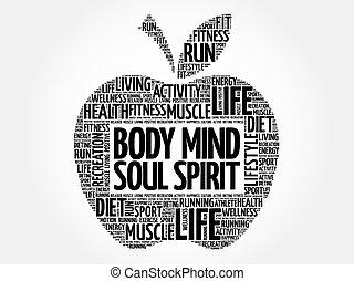 kropp, ord, äpple, själ, själ, ande, moln