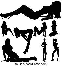 kropp, sexig, flicka, vektor, silhouettes