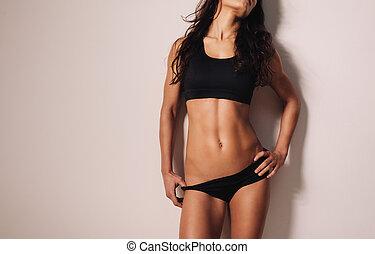 kropp, sexig, kvinna, ung, muskulös
