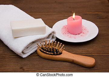 kropp, trä, omsorg, tillbehör, bord