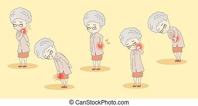 kropp, värk, kvinna, gammal, ha
