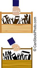 kroppsarbetare, bärande, toolbox, diy