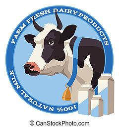 krowa, i, mleczny