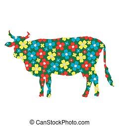 krowa, sylwetka, z, kwiatowy wzór