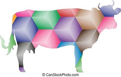 krowa, z, abstrakcyjny, kolor, kostki