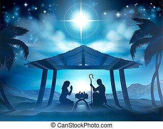 krubba, födelse, jul scen