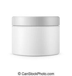 krug, plastik, matte, kosmetikartikel, weißes, runder