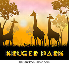 Kruger Park Showing Wildlife Reserve 3d Illustration - ...