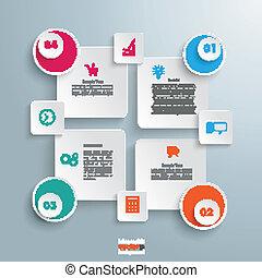 kruh, čtverhran, doplňkové příslušenství, 4, infographic